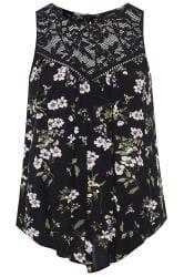 Black Floral Asymmetric Lace Top