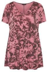 Rose Pink Tie Dye Peplum Smock Top