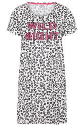 White Animal Print 'Wild Night' Slogan Nightdress