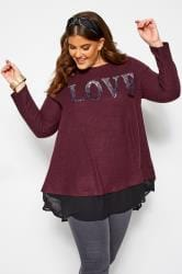 Donkerpaarse top met 'Love' slogan en pailletten