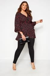 Black & Pink Heart Print Wrap Top