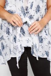 White & Blue Floral Tie Front Blouse