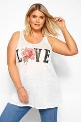 White Burnout 'Love' Slogan Vest Top