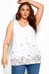 White Butterfly Border Print Cross Back Vest Top