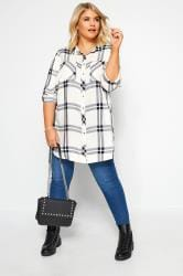 White Check Studded Boyfriend Shirt
