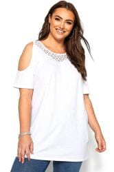 White Cold Shoulder Crochet Lace Top