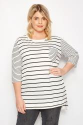 White Contrast Stripe Pocket T-Shirt