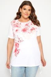 White & Coral Floral Diamante Drawstring T-Shirt