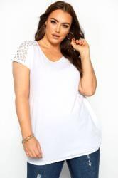 White Crochet Lace Bubble Hem Top