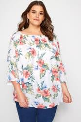 White Floral Bell Sleeved Bardot Top