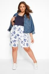 White Floral Linen Mix Shorts