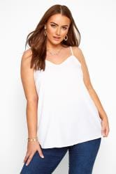 White Lattice Back Cami Top