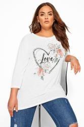 White Marl Heart 'Love' Slogan Top