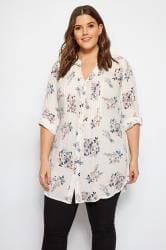 White & Pink Floral Pintuck Blouse