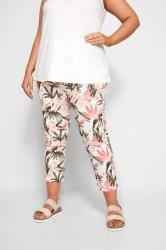 White, Pink & Khaki Floral Print Cropped JENNY Jeggings