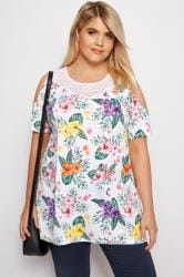 White Tropical Floral Cold Shoulder Top