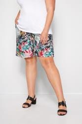 Multicoloured Tropical Leaf Pull On Shorts