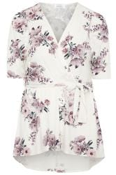 YOURS LONDON White Floral High Low Wrap Top