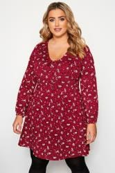 Wine Red Ditsy Floral Print Tunic
