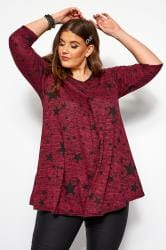 Wine Red Star Print Pleated Swing Top