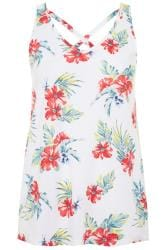White Tropical Print Cross Back Vest Top