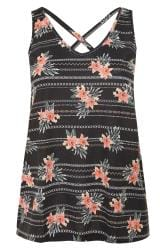 Black Tropical Print Cross Back Vest Top