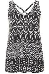 Black & White Aztec Print Cross Back Vest Top