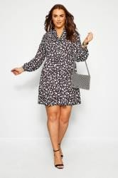 YOURS LONDON Black Animal Print Bow Smock Tunic