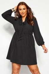 YOURS LONDON Black Bow Smock Tunic