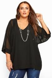 YOURS LONDON Chiffon Top - Schwarz