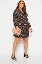 YOURS LONDON Black Floral Bow Smock Tunic