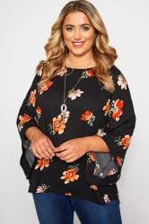 YOURS LONDON Black Floral Cape Top