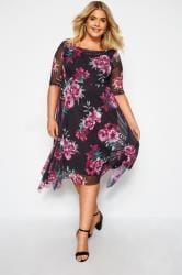 YOURS LONDON Black Floral Cowl Neck Dress