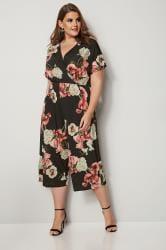 Black Floral Culotte Jumpsuit
