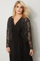 YOURS LONDON Black Metallic Floral Lace Shrug