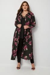 YOURS LONDON Black Floral Maxi Shirt