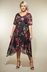YOURS LONDON Black & Berry Floral Midi Dress