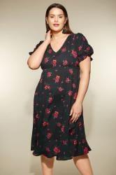 YOURS LONDON Zwart-roze v-hals jurk met bloemenprint