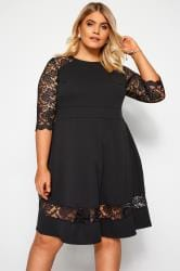 YOURS LONDON Black Lace Skater Dress