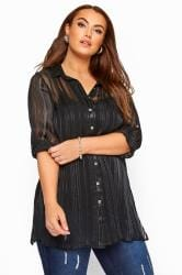 YOURS LONDON Black Metallic Chiffon Striped Shirt