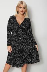 YOURS LONDON Black Star Print Wrap Dress