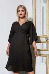 YOURS LONDON - Robe Noire Portefeuille à Nouer Sur le Devant