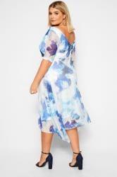 YOURS LONDON Blue Brushstroke Cowl Neck Dress