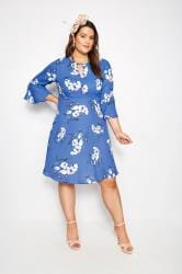 YOURS LONDON Blue Floral Dress With Fluted Sleeves