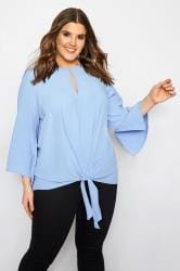 YOURS LONDON Blauwe blouse met cut-out & knoopdetail