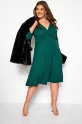 YOURS LONDON Bottle Green Wrap Dress