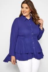 YOURS LONDON Cobalt Blue Ruffle Shirt