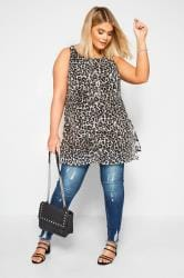 YOURS LONDON Grey Animal Print Chiffon Tunic