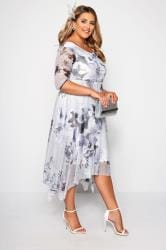 YOURS LONDON Grey Midi Dress With Cowl Neck
