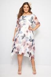 YOURS LONDON Ivory & Dusky Pink Floral Midi Dress With Cowl Neck